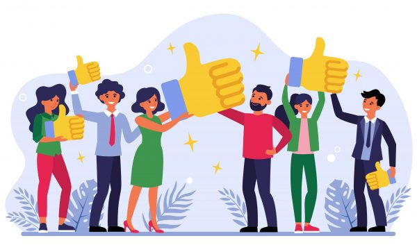 Customer giving quality feedback flat vector illustration. Smiling people choosing top service. Business success via client satisfaction. Reviews and survey concept